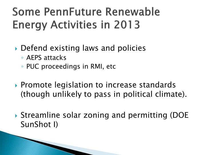 Some PennFuture Renewable Energy Activities in 2013