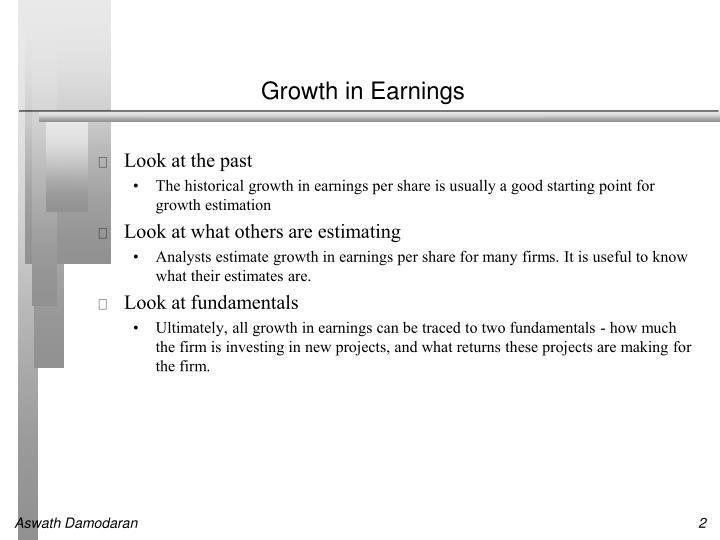 Growth in earnings