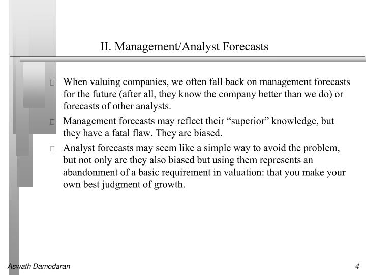 II. Management/Analyst Forecasts