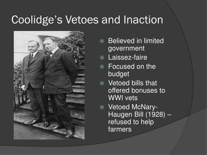Coolidge's Vetoes and Inaction