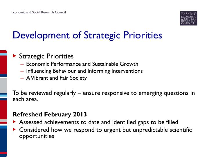 Development of Strategic Priorities