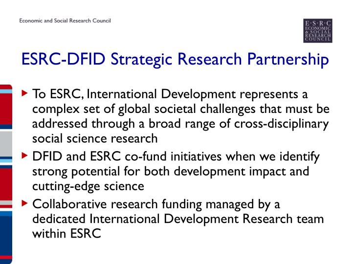 ESRC-DFID Strategic Research Partnership