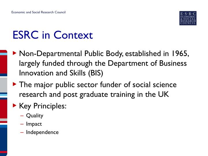 Esrc in context
