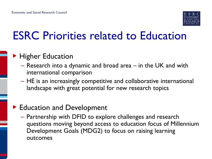 ESRC Priorities related to Education