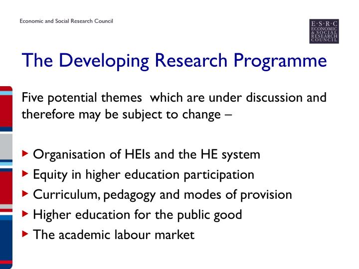 The Developing Research Programme