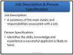job description person specification