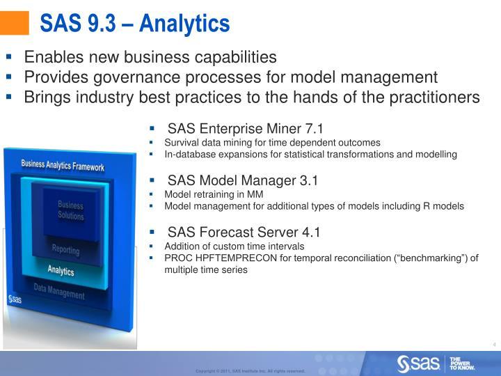 SAS 9.3 – Analytics