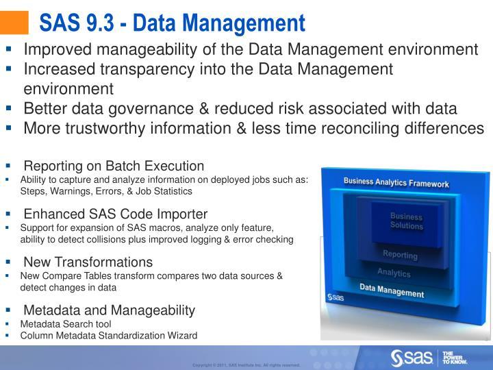 SAS 9.3 - Data Management