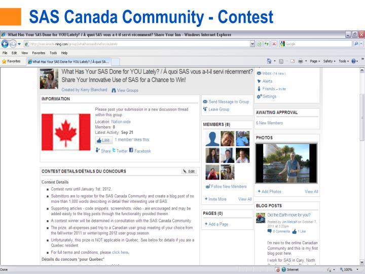 SAS Canada Community - Contest