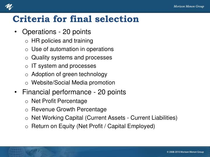 Criteria for final selection