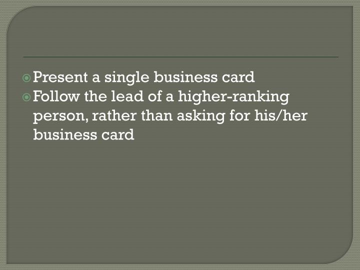 Present a single business card