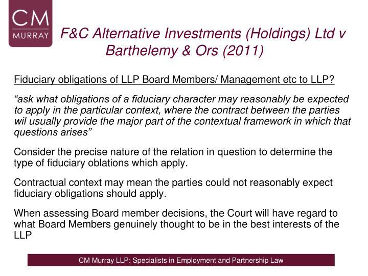 F&C Alternative Investments (Holdings) Ltd v