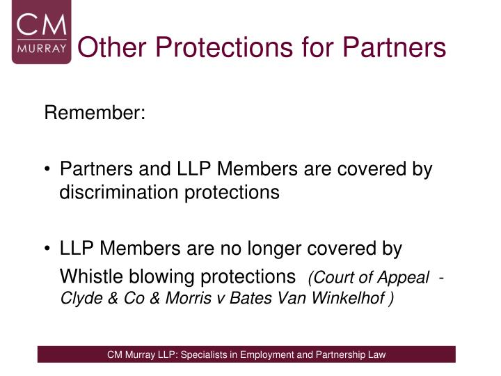 Other Protections for Partners