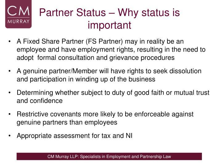 Partner Status – Why status is