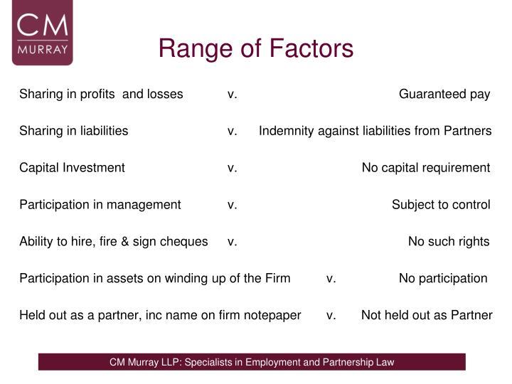 Range of Factors