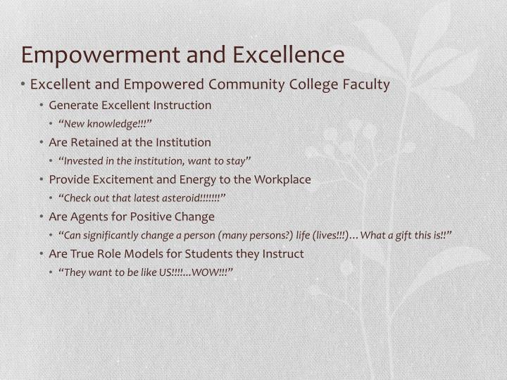 Empowerment and Excellence