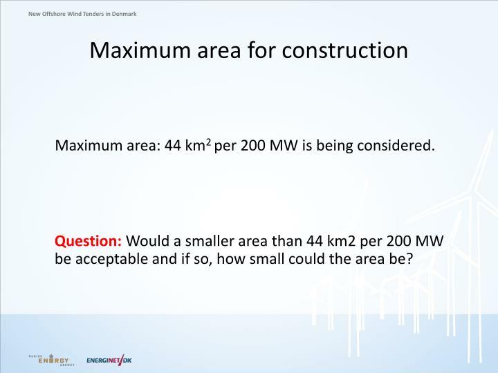 Maximum area for construction