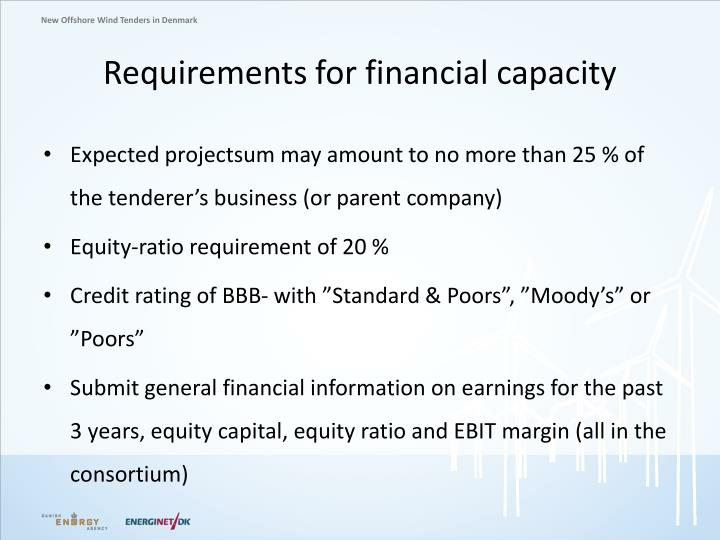 Requirements for financial capacity