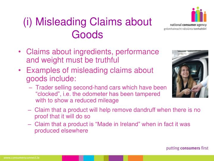 (i) Misleading Claims about Goods