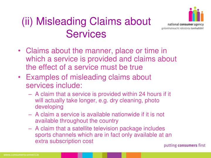(ii) Misleading Claims about Services