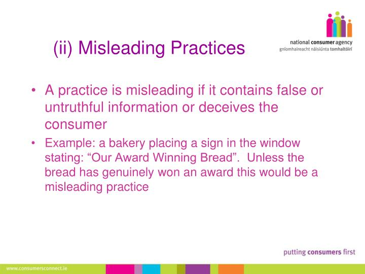 (ii) Misleading Practices