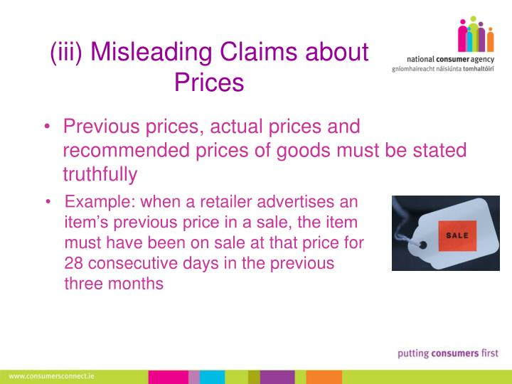 (iii) Misleading Claims about Prices