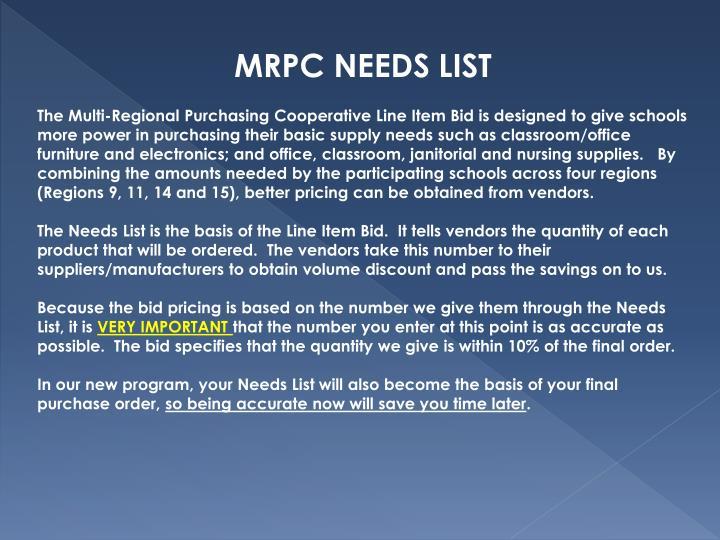 MRPC NEEDS LIST