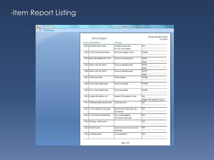 Item Report Listing