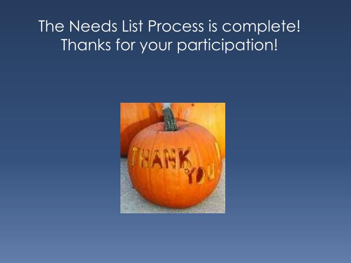 The Needs List Process is complete!