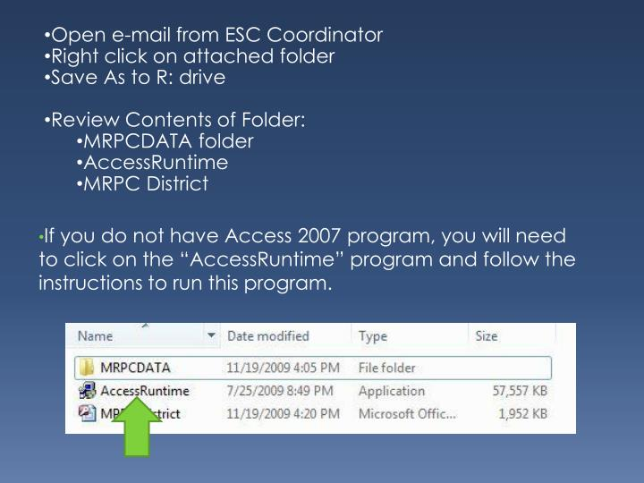 Open e-mail from ESC Coordinator