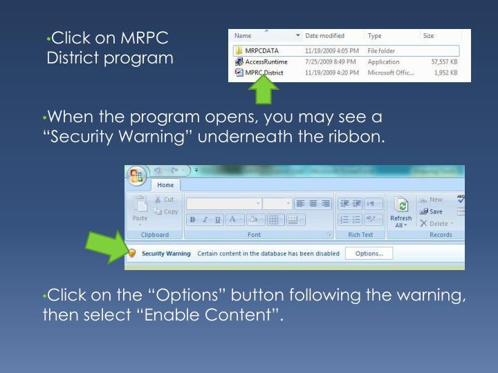 Click on MRPC District program