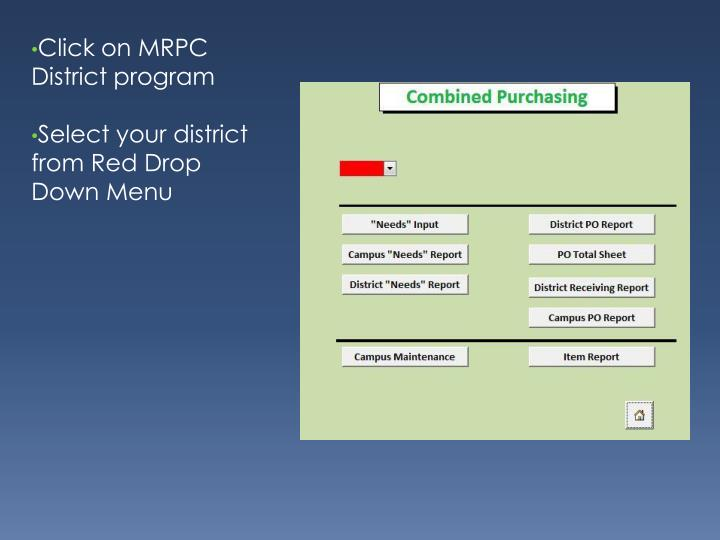 Click on MRPC District program