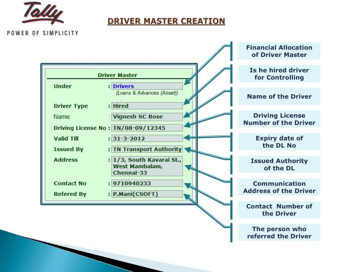 DRIVER MASTER CREATION