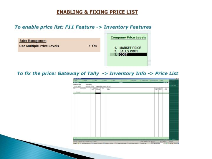 ENABLING & FIXING PRICE LIST