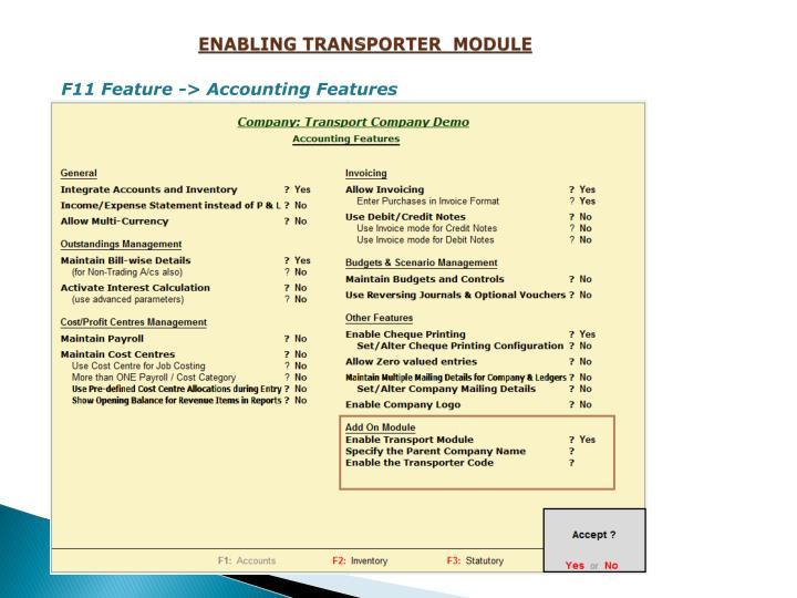 ENABLING TRANSPORTER  MODULE