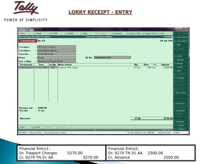 LORRY RECEIPT - ENTRY