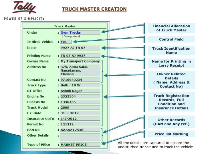 TRUCK MASTER CREATION