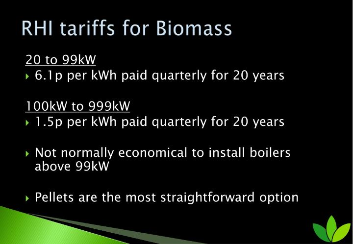 RHI tariffs for Biomass