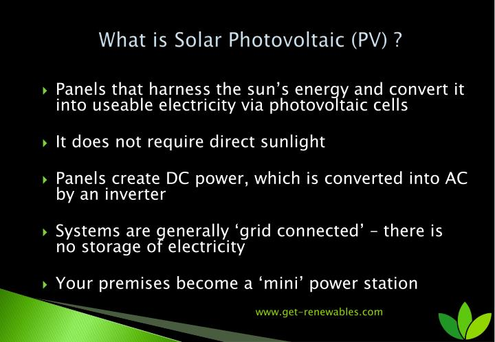 What is Solar Photovoltaic (PV) ?