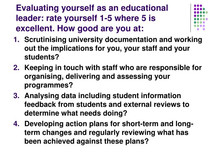 Evaluating yourself as an educational leader: rate yourself 1-5 where 5 is excellent. How good are you at: