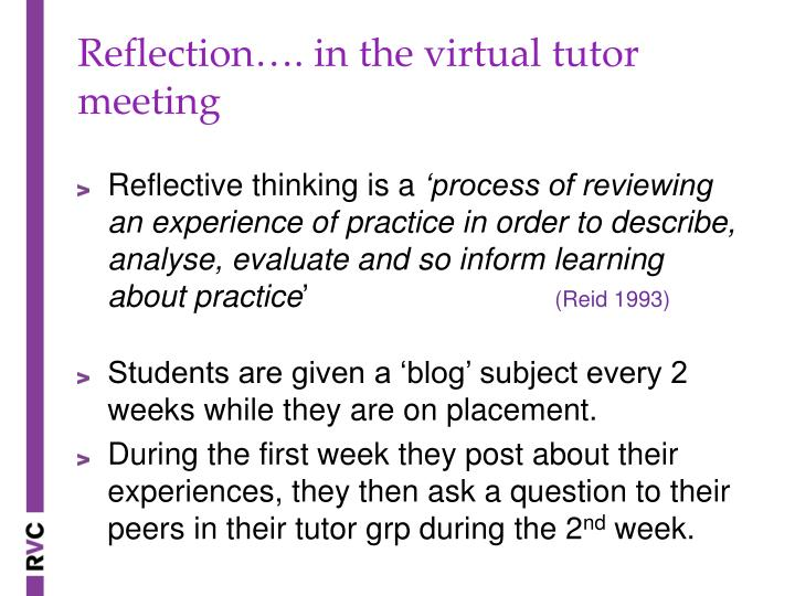 Reflection…. in the virtual tutor meeting