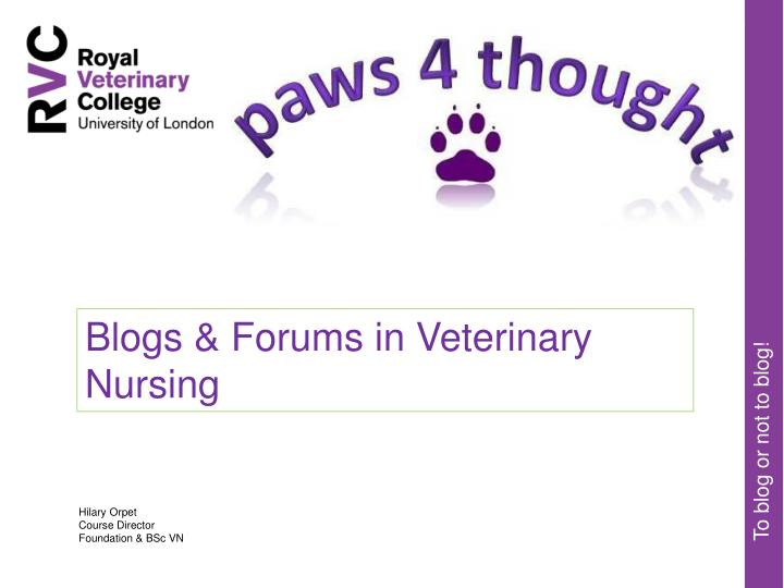 Blogs & Forums in Veterinary Nursing