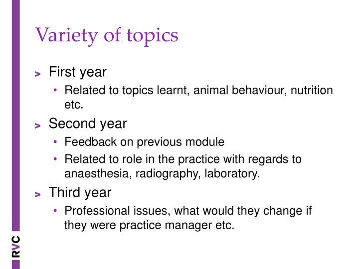 Variety of topics