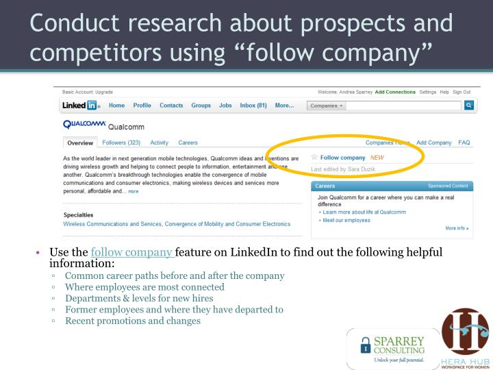 "Conduct research about prospects and competitors using ""follow company"""