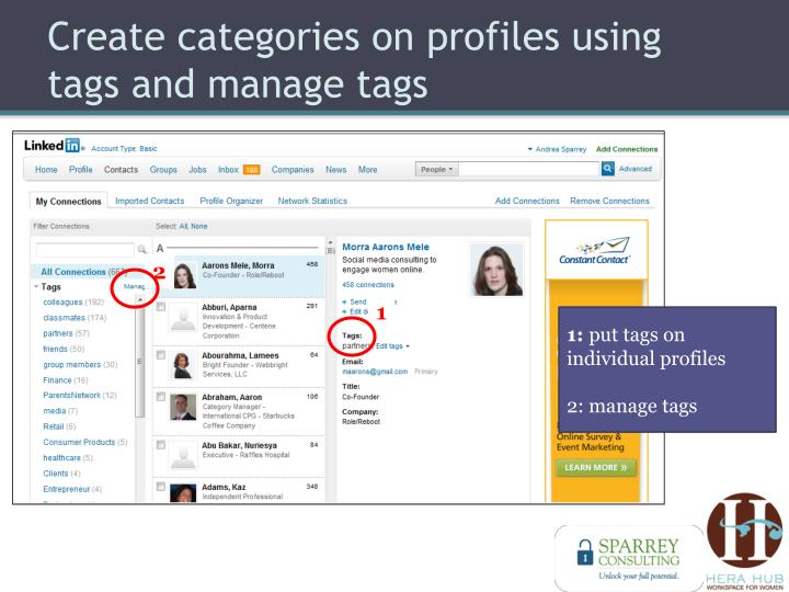 Create categories on profiles using tags and manage tags