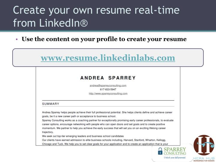 Create your own resume real-time from LinkedIn®