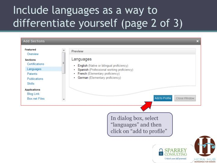 Include languages as a way to differentiate yourself (page 2 of 3)