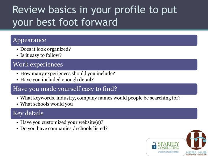 Review basics in your profile to put your best foot forward