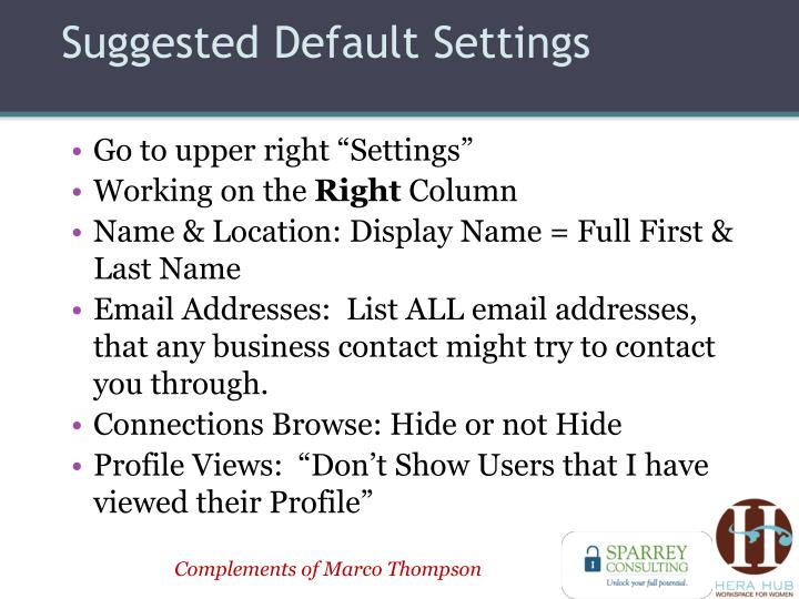 Suggested Default Settings