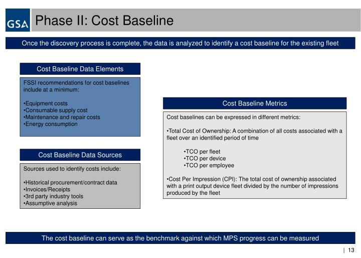 Phase II: Cost Baseline